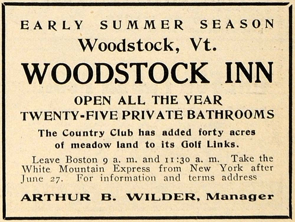 1909 Ad Woodstock Inn Arthur Wilder Golf Country Club - ORIGINAL TIN4