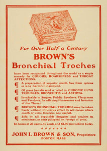 1909 Ad John I. Brown & Son Bronchial Troches Remedy - ORIGINAL ADVERTISING TIN4