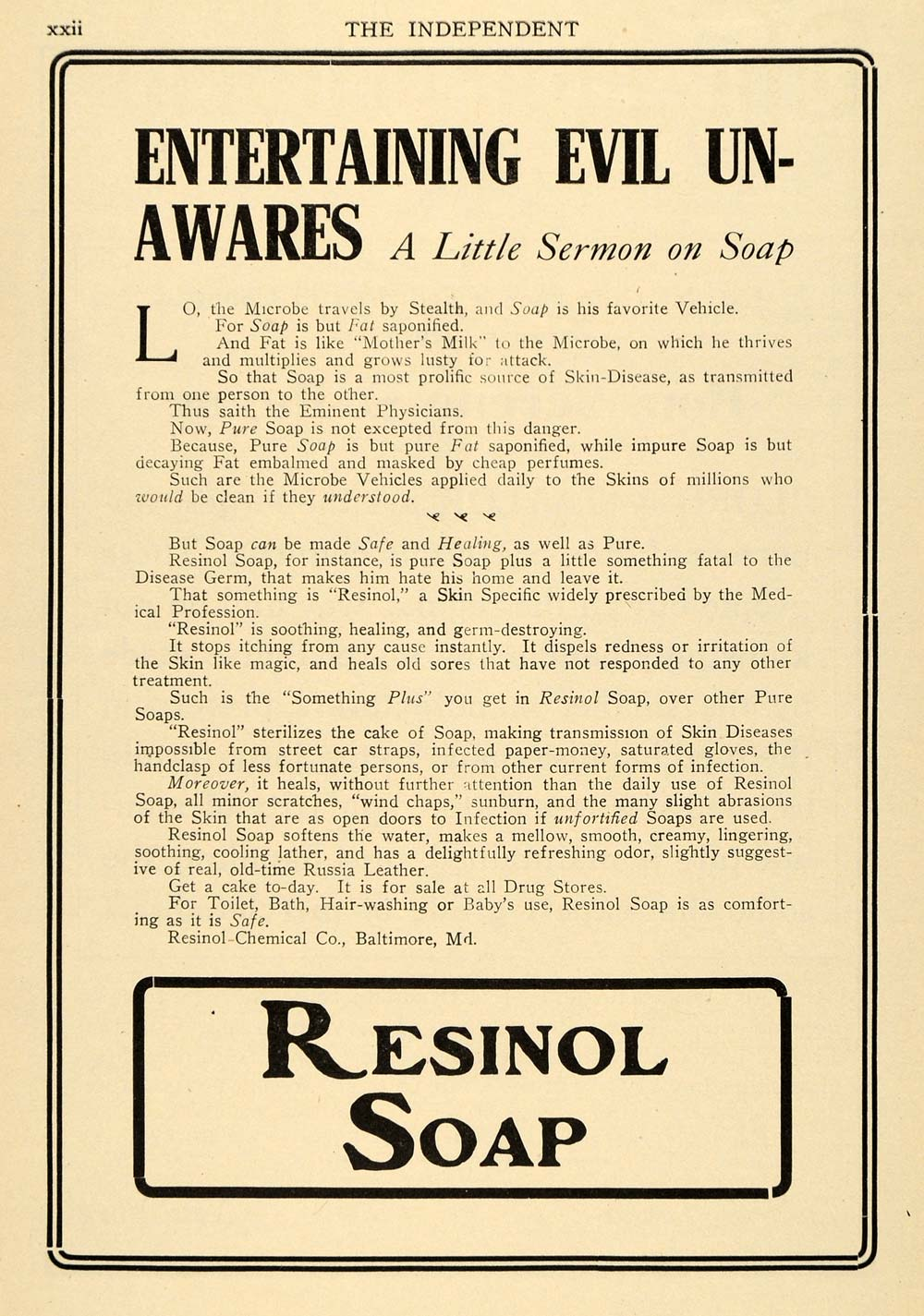 1909 Ad Resinol Chemical Co. Bath Toilet Soap Products - ORIGINAL TIN4