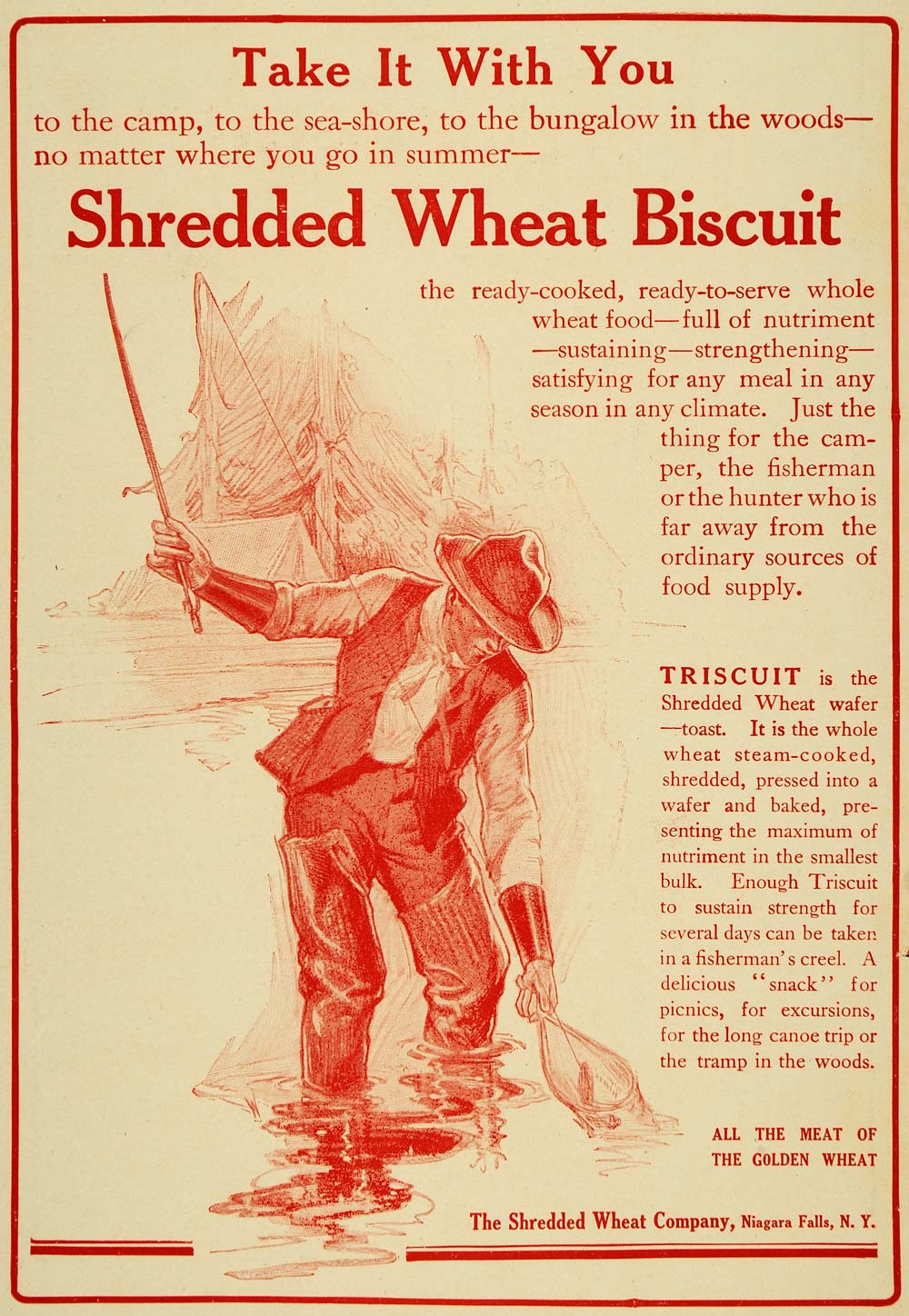1910 Ad Shredded Wheat Co. Biscuit Triscuit Fishing - ORIGINAL ADVERTISING TIN4