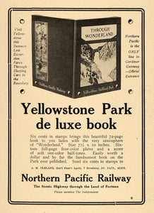 1910 Ad Northern Pacific Railway Logo Yellowstone Park - ORIGINAL TIN4
