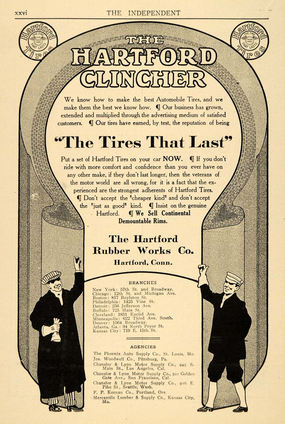 The Hartford At Work >> 1910 Ad Hartford Rubber Works Co Clincher Auto Tires Original