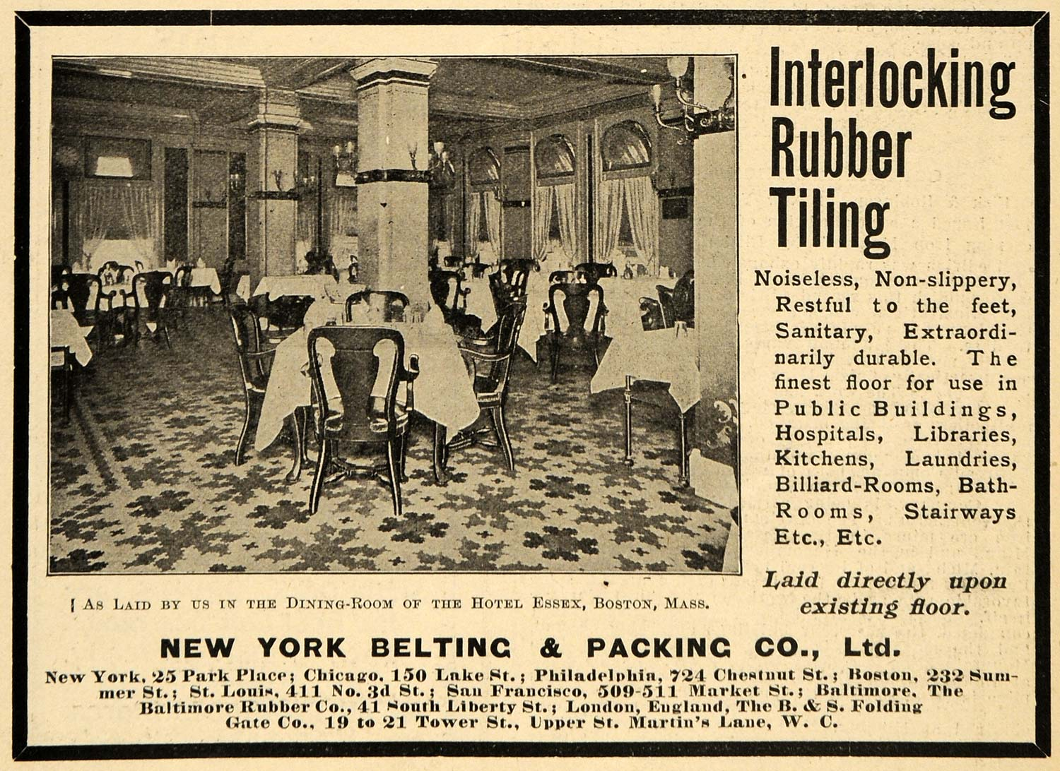 1903 Ad Interlocking Rubber Tiling Hotel Essex Belting - ORIGINAL TIN4