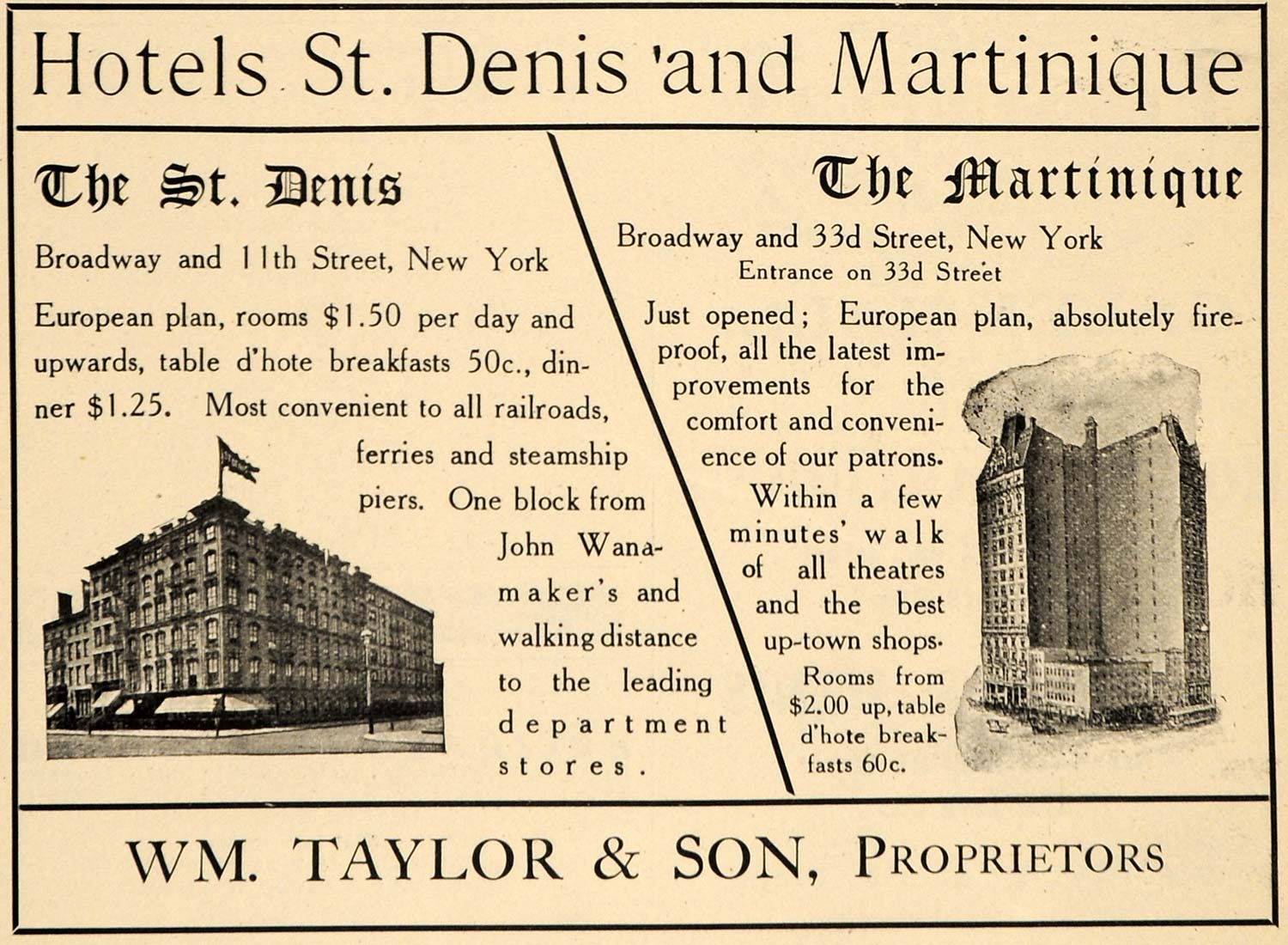 1907 Ad St. Denis Hotel Martinique William Taylor NY - ORIGINAL ADVERTISING TIN4