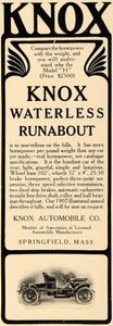 1907 Ad Knox Waterless Runabout Model H Horsepower - ORIGINAL ADVERTISING TIN4