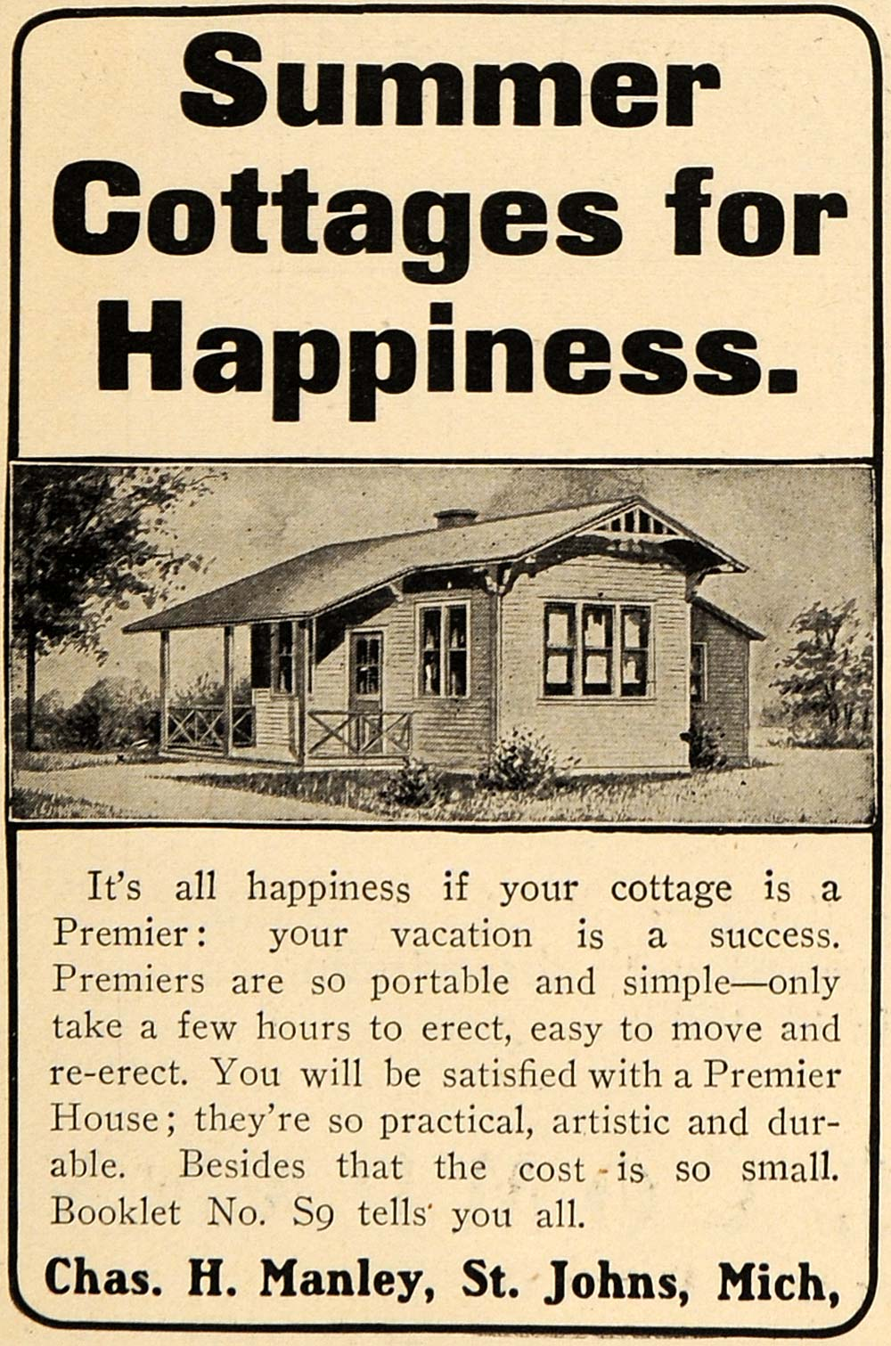 1906 Ad Charles H. Manley Portable Premier Cottages - ORIGINAL ADVERTISING TIN4