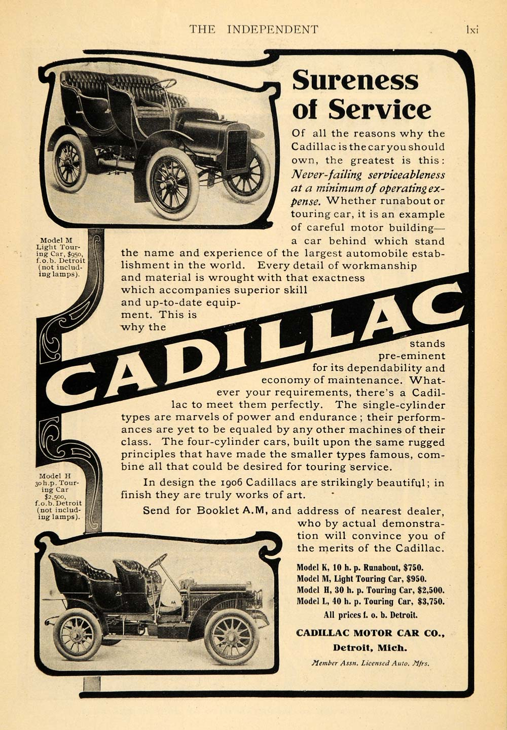 American other page 3 period paper for Cadillac motor car company