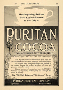 1913 Ad Puritan Chocolate Co. Cocoa Beverage Drink - ORIGINAL ADVERTISING TIN5