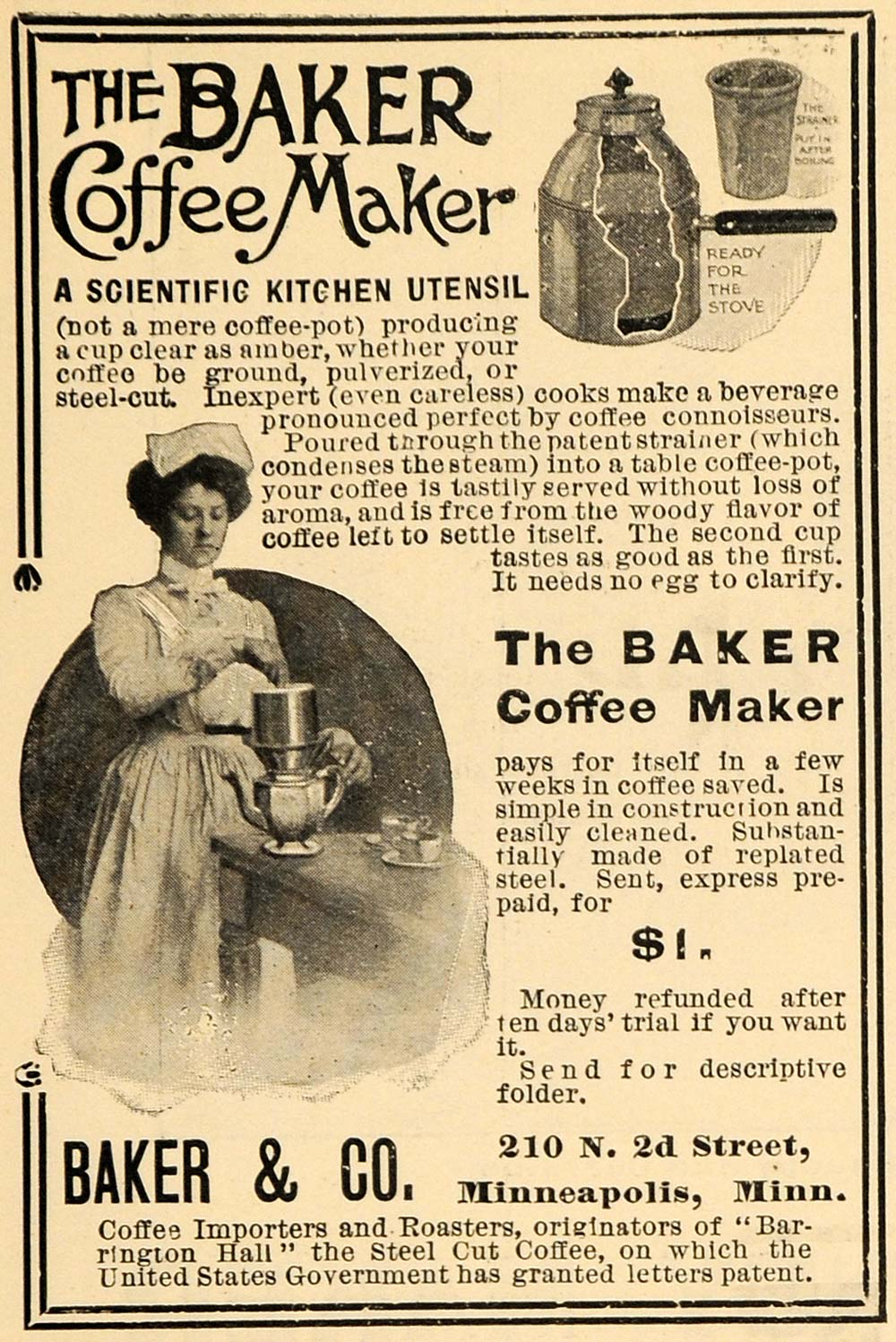 1903 Ad Baker & Co. Coffee Maker Kitchen Utensil Maid - ORIGINAL TIN5