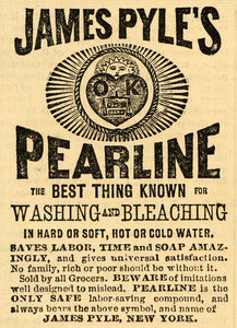 1882 Ad James Pyle's Pearline Soap Washing Detergent - ORIGINAL ADVERTISING TIN6