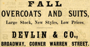 1882 Ad Devlin Fall Fashion Overcoats Suits New York - ORIGINAL ADVERTISING TIN6
