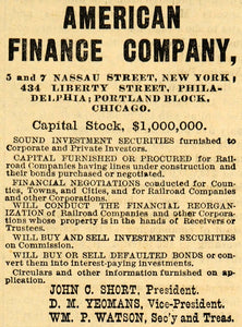 1882 Ad American Finance Stock Investment Securities - ORIGINAL ADVERTISING TIN6