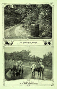 1907 Print Roadside Barrel Runnel VT Horseback Rider MD - ORIGINAL TIN6