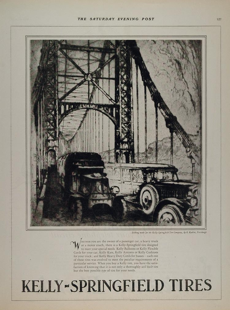 1926 Ad Kelly Springfield Tire Suspension Bridge Kubler - ORIGINAL TIR1
