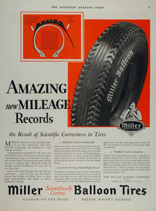 1928 Vintage Ad Miller Balloon Car Tires Akron Ohio - ORIGINAL ADVERTISING TIR1