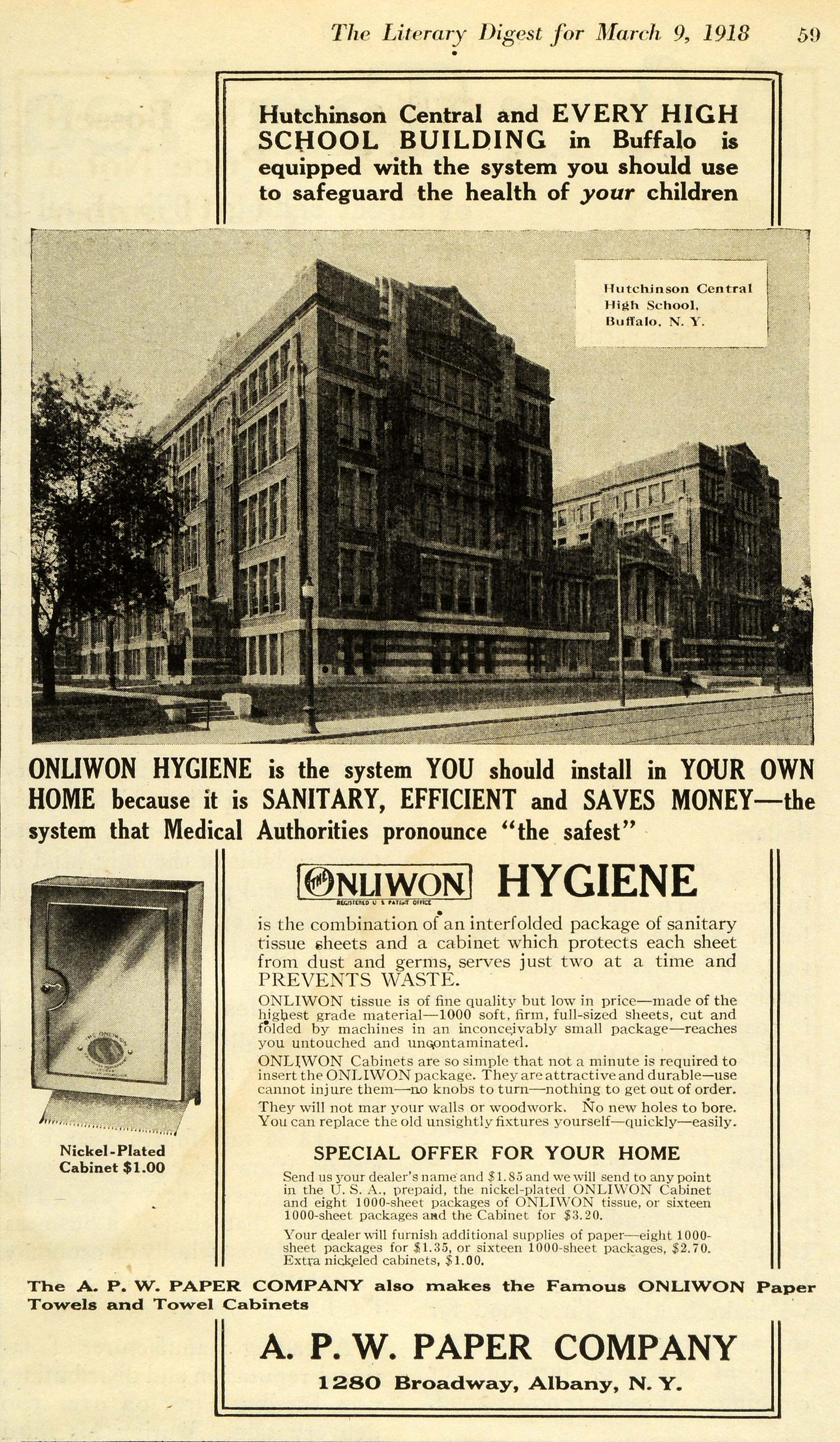 1918 Ad A P W Paper Co Nliwon Hygiene Towels Hutchinson Central High School TLD1