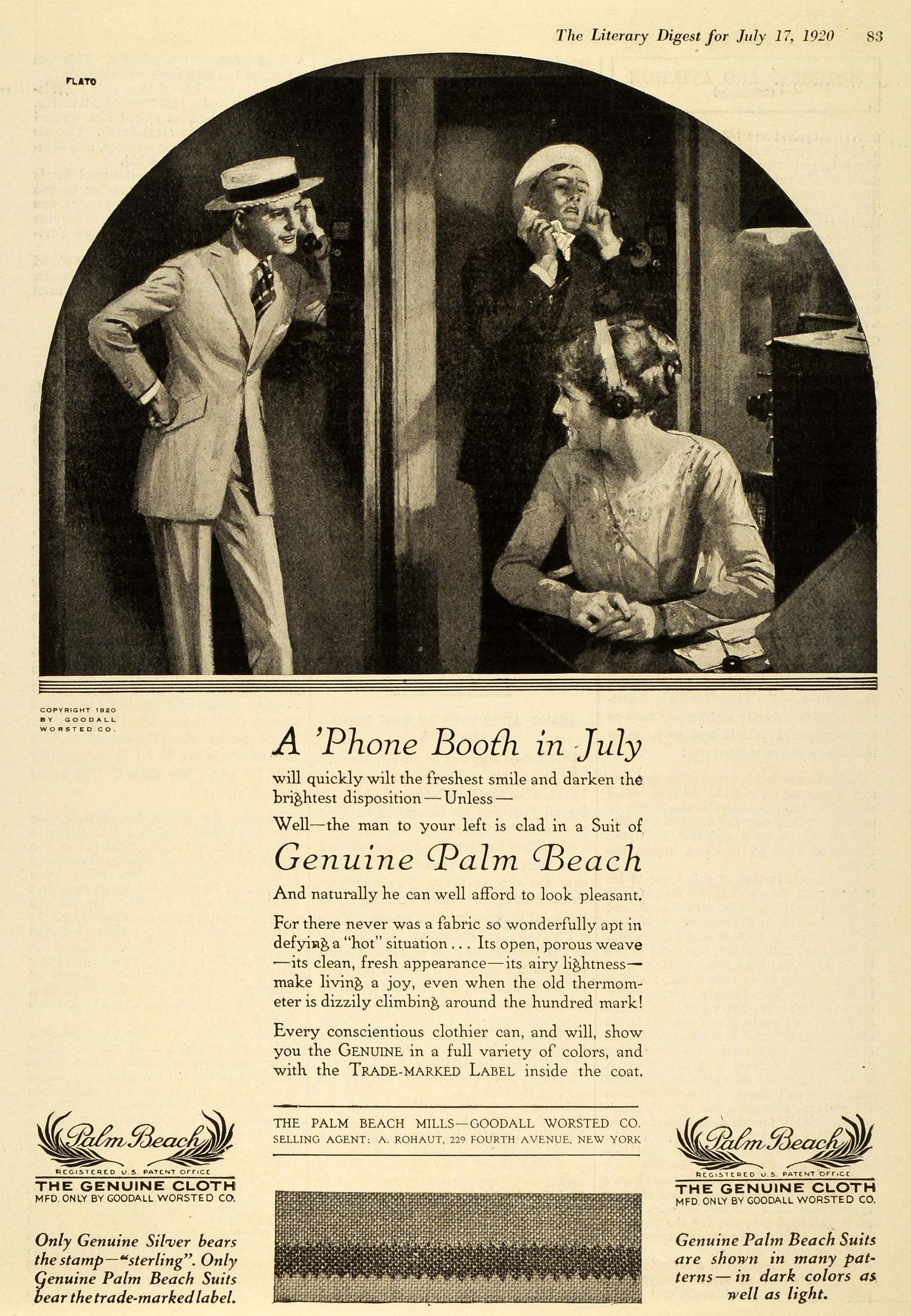 1920 Ad Palm Beach Mills Goodall Worsted Co Phone Booth Genuine Clothes TLD1