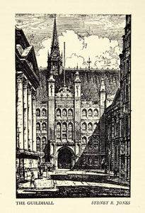 1948 Lithograph Guildhall London England Sydney R. Jones Architecture Town TLE1