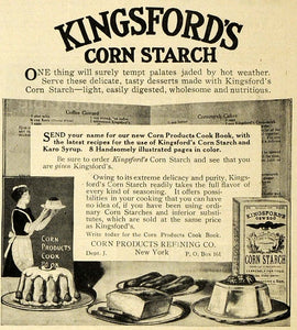 1913 Ad Kingsford Corn Starch Recipe Book Cooking Maid Baking Desserts TLW1