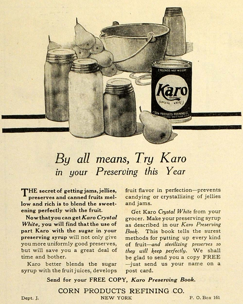 1913 Ad Corn Product Refining Karo Crystal White Food Preservation Fruit TLW1