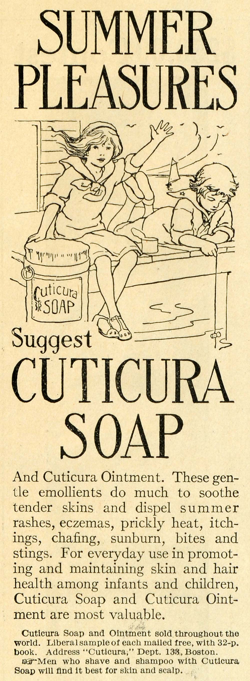 1913 Ad Cuticura Soap Ointment Summer Burn Skin Care Children Fishing TLW2