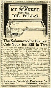 1913 Ad Kalamazoo Vegetable Parchment Ice Blanket Economical Household TLW2