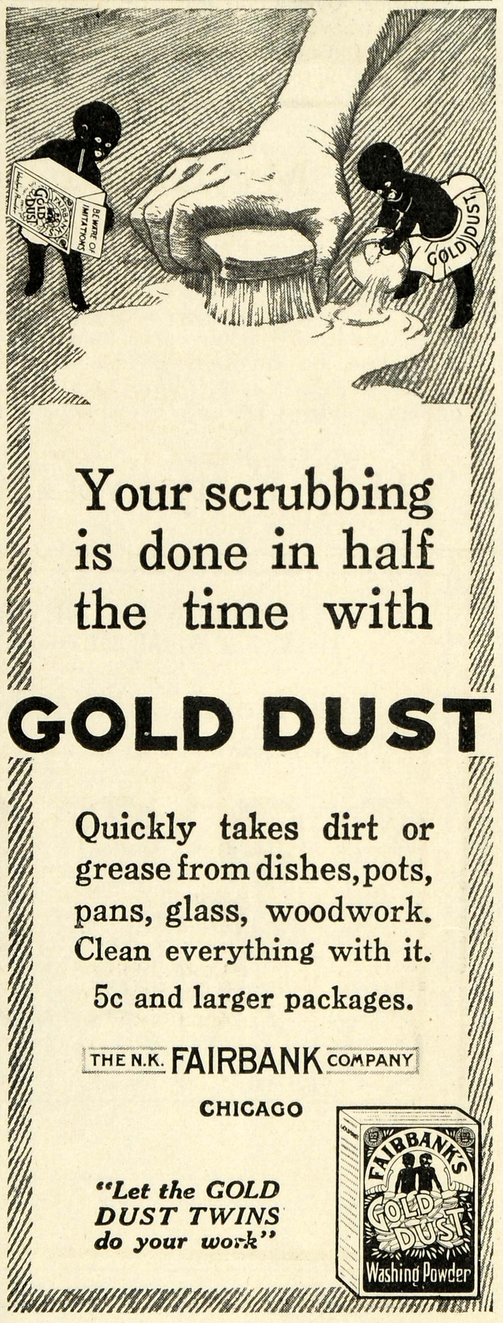 1914 Ad Gold Dust Twins Washing Powder N. K. Fairbank Cleaning Products TLW2