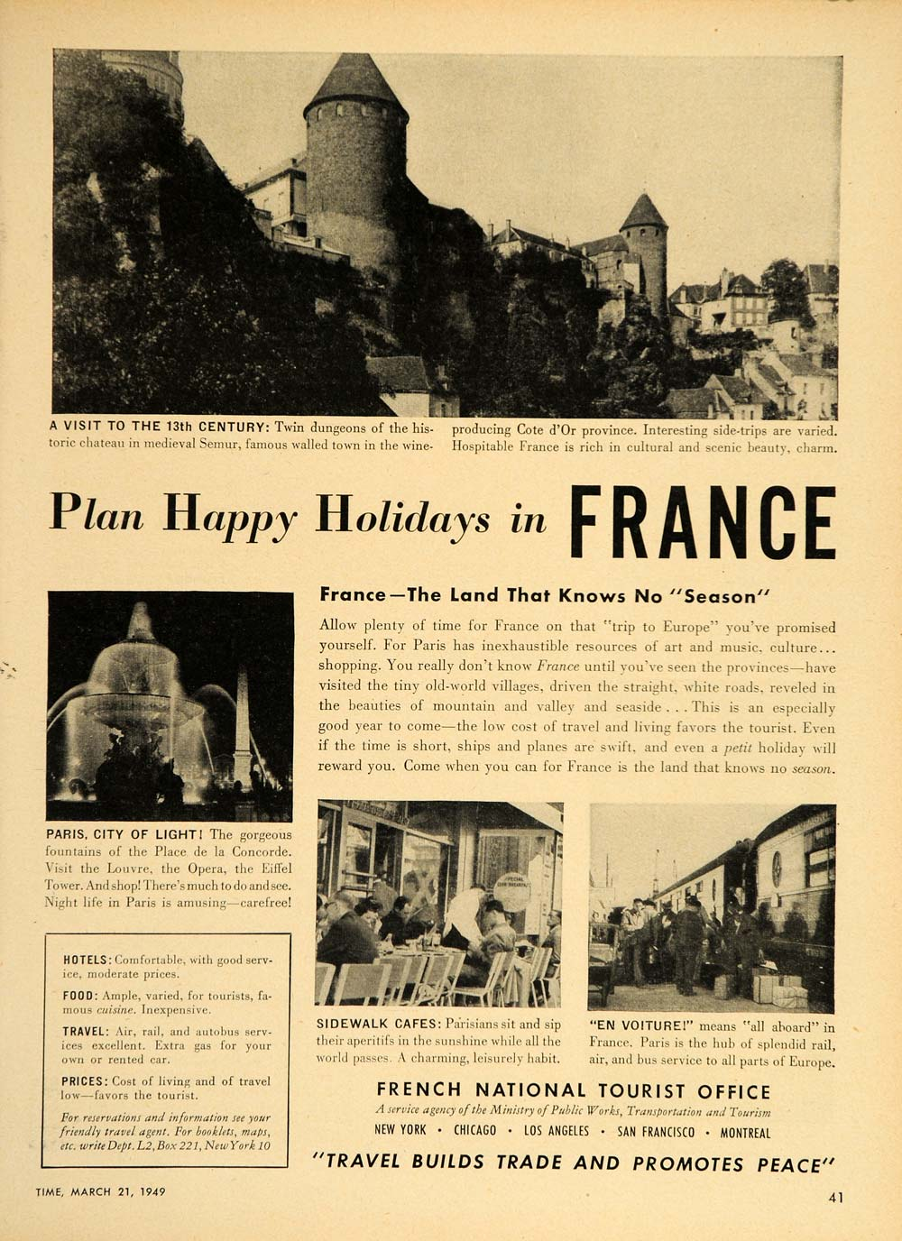 1949 Ad Travel France Chateau Semur Paris Sidewalk Cafe - ORIGINAL TM1