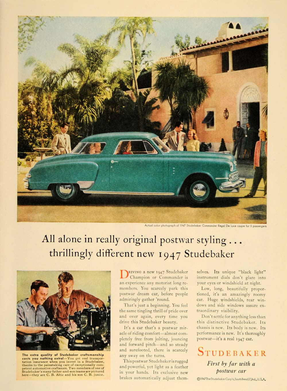 1947 Ad Studebaker Car Commander Regal De Luxe Coupe - ORIGINAL ADVERTISING TM1