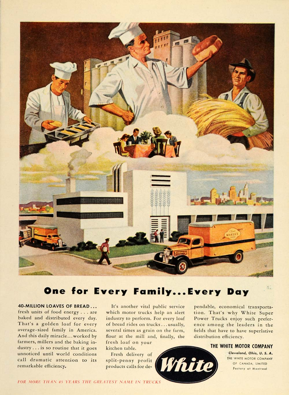 1946 Ad White Trucks Bakery Delivery Bread Loaf Baker - ORIGINAL ADVERTISING TM1