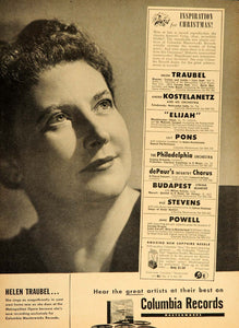 1947 Ad Columbia Records Helen Traubel Opera Soprano - ORIGINAL ADVERTISING TM1