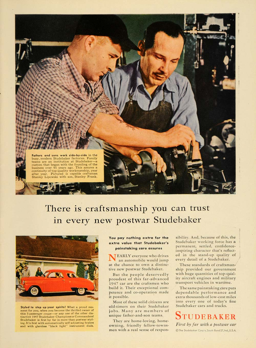 1947 Ad Red Studebaker Coupe Car Stanley Frank Lipowski - ORIGINAL TM1