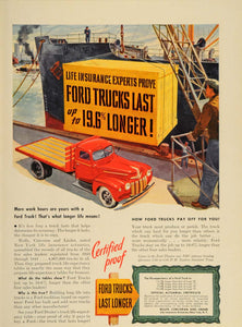 1947 Ad Red Ford Truck Life Expectancy Ship Dockyard - ORIGINAL ADVERTISING TM1