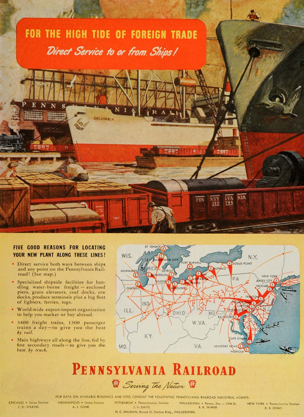 1947 Ad Pennsylvania Railroad Freight Trains Docks Map - ORIGINAL TM1