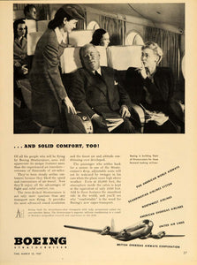 1947 Ad Boeing Stratocruiser Airplane Stewardess Cabin - ORIGINAL TM1