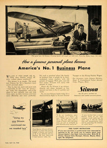 1948 Ad Stinson Private Business Airplane Frank Querry - ORIGINAL TM1