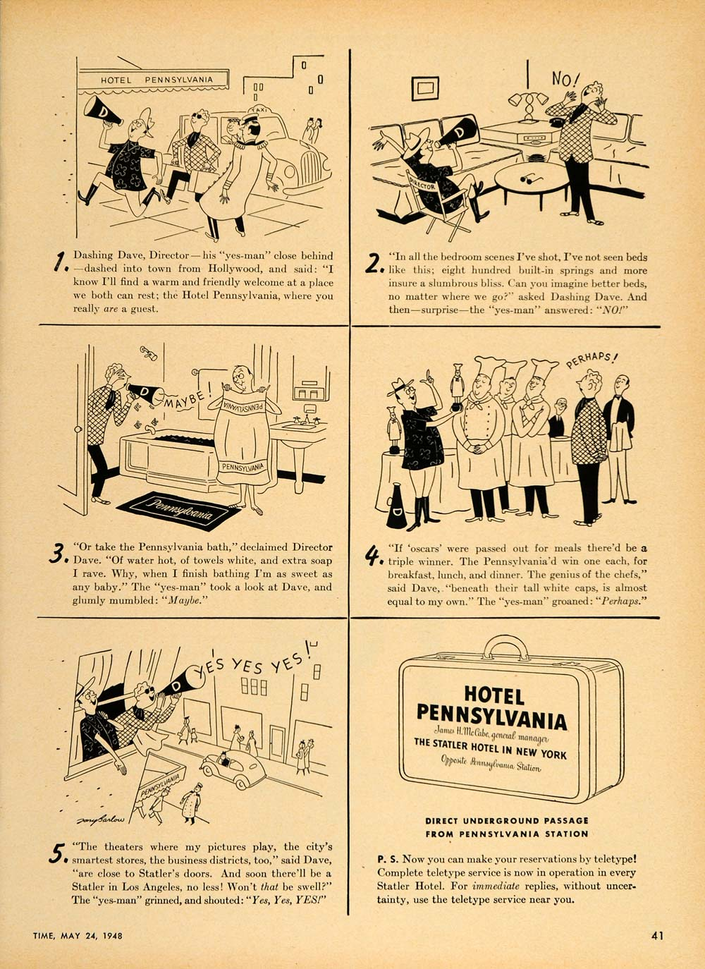 1948 Ad Hotel Pennsylvania Statler New York NYC Cartoon - ORIGINAL TM1