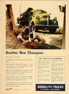1947 Ad Green Dodge Truck Pipe Laying Worker Fred Cole - ORIGINAL TM1