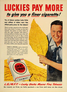 1949 Ad Lucky Strike Cigarettes Curtis A Walker Tobacco - ORIGINAL TM1
