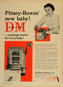 1949 Ad Pitney Bowes Postage Meter Desk Model DM Stamp - ORIGINAL TM1