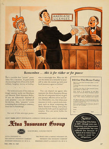 1947 Ad Aetna Insurance Marriage License Abner Dean - ORIGINAL ADVERTISING TM1
