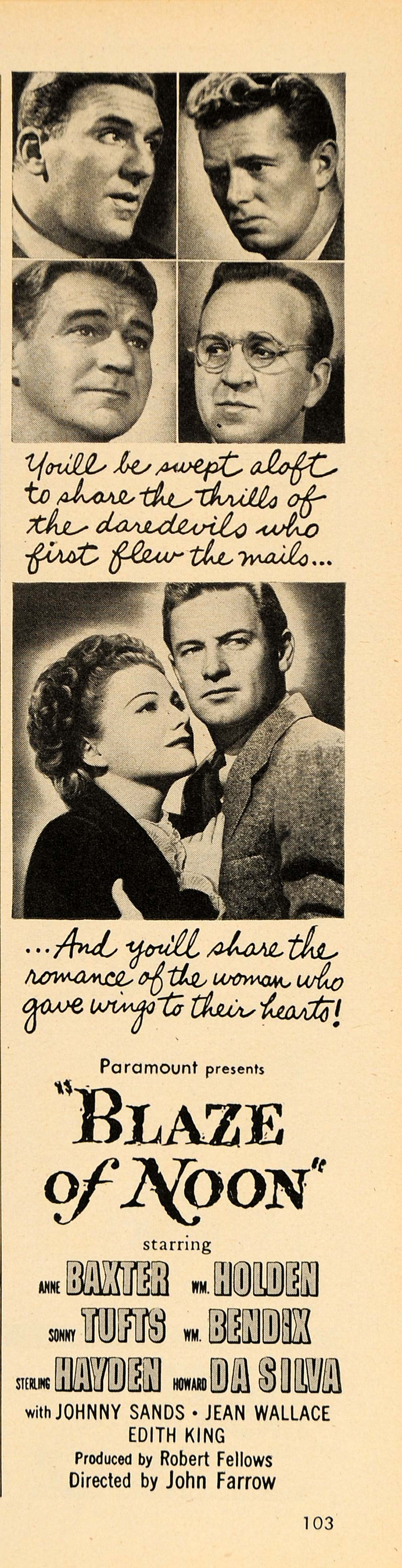 1947 Ad Blaze of Noon Movie John Farrow Anne Baxter - ORIGINAL ADVERTISING TM1