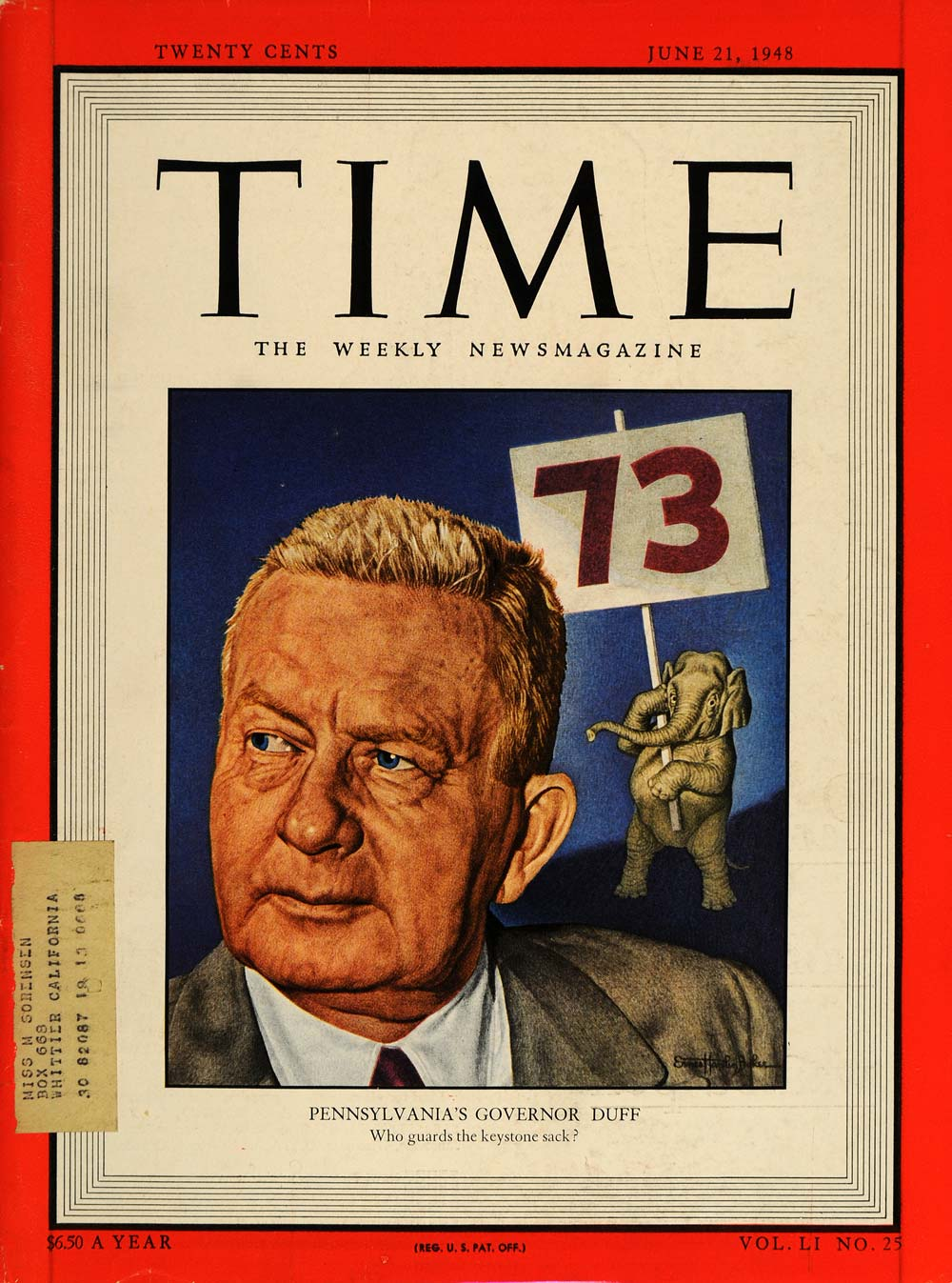 1948 TIME Cover Governor James H. Duff PA Elephant - ORIGINAL TM1