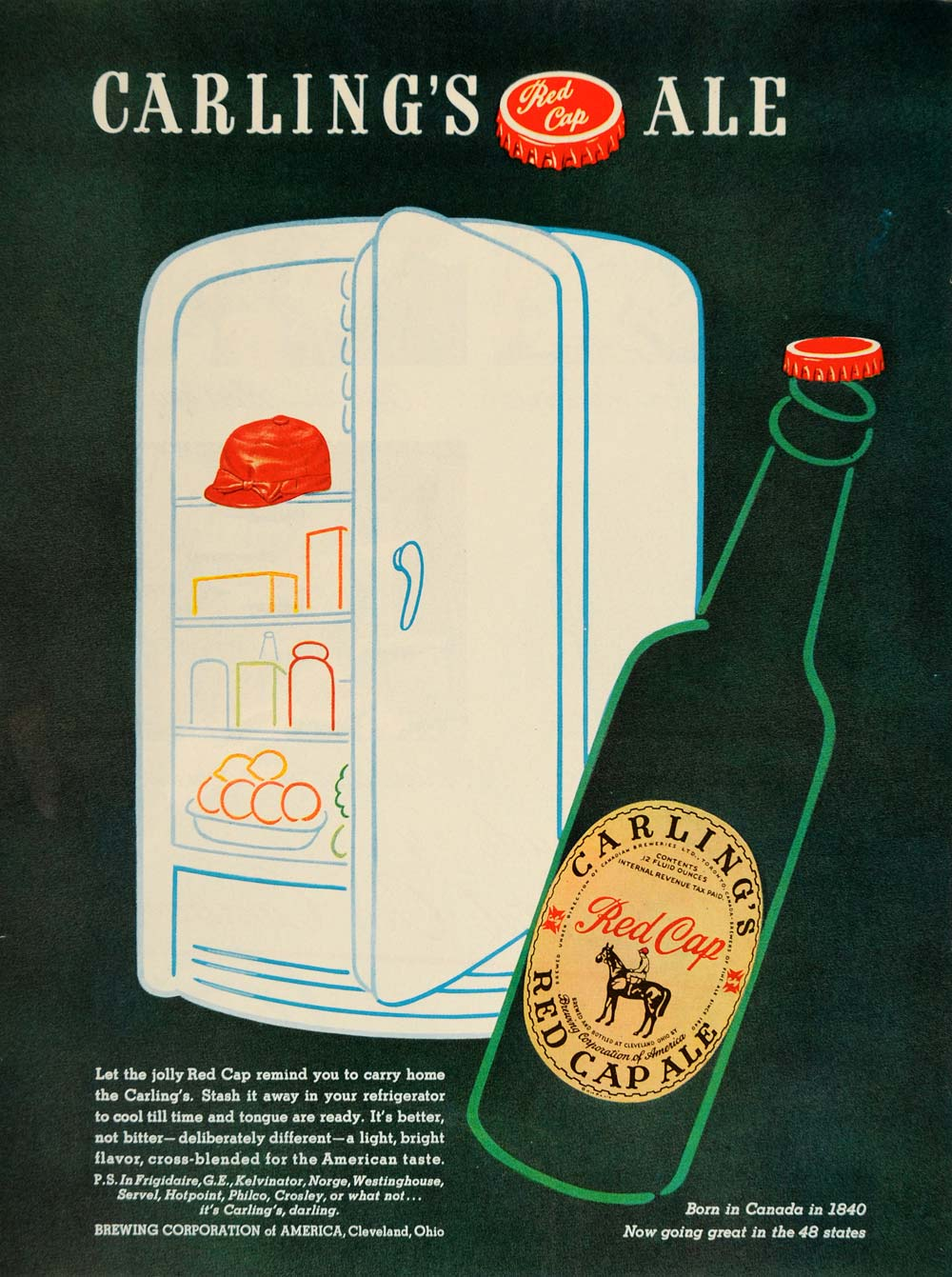 1947 Ad Carling's Red Cap Ale Beer Bottle Refrigerator - ORIGINAL TM1