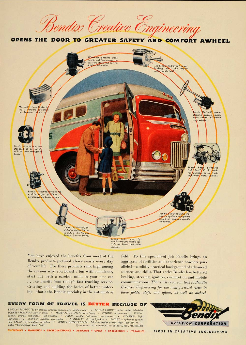 1946 Ad Bendix Aviation Corp. Engineering Products Bus - ORIGINAL TM1