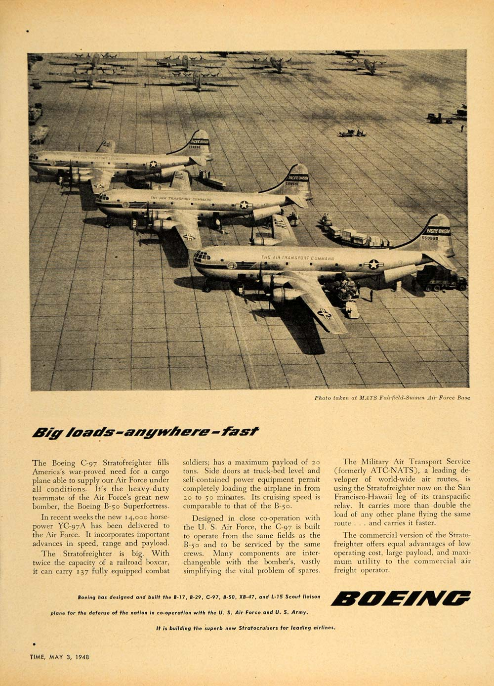 1948 Ad Boeing C-97 Stratofreighter MATS Air Force Base - ORIGINAL TM1