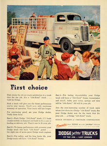 1947 Ad Dodge Truck Little League Baseball Game Boys - ORIGINAL ADVERTISING TM1