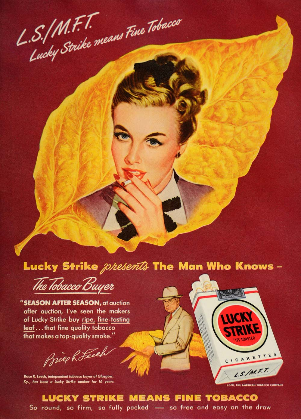 1948 Ad Lucky Strike Cigarettes Brice R. Leech Tobacco - ORIGINAL TM1
