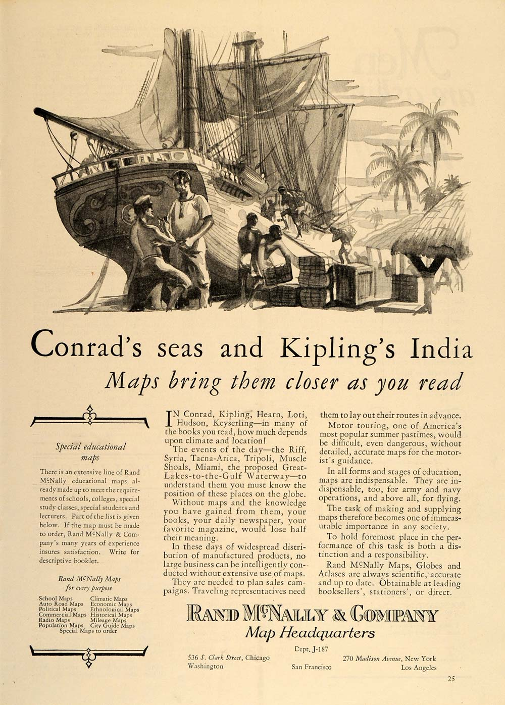 1926 Vintage Print Ad Rand McNally Maps Sailing Ship - ORIGINAL ADVERTISING TM2