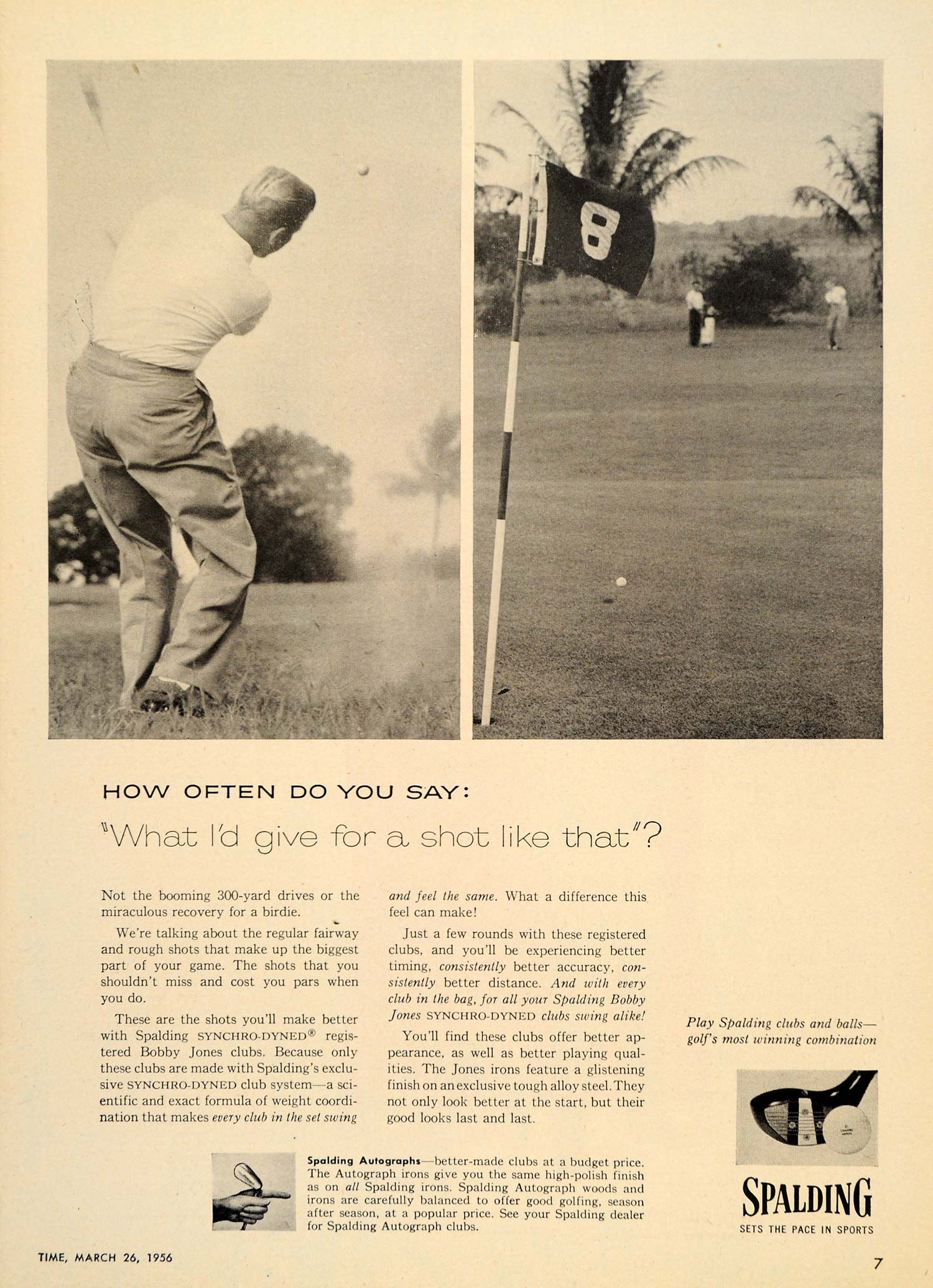 1956 Ad Bobby Jones Synchro-Dyned Clubs Spalding Golf - ORIGINAL ADVERTISING TM3